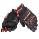 dainese carbon D1 short black / black / rosso fluo guanti