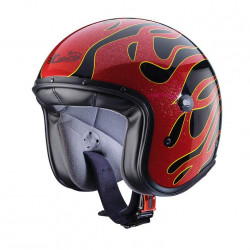 Caberg jet freeride flame black/red casco