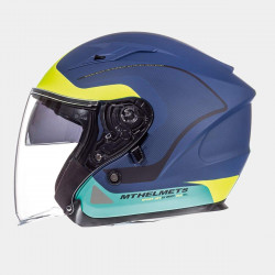 MT Helmet avenue matt blue/fluor yellow/green casco