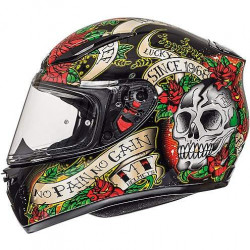 MT helmets revenge skull & rose gloss black/red rose casco