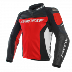 Dainese racing 3 rosso nero bianco lather jacket