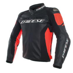 RACING 3 GIACCA PELLE BLACK BLACK FLUO RED   DAINESE