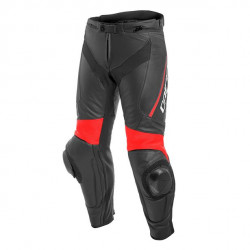 DELTA 3 LEATHER PANTS-P75-BLACK/BLACK/FLUO-RED Dainese