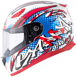 CASCO INTEGRALE KV38 HOUSTON SPRAY BIANCO LUCIDO  BLU  R...