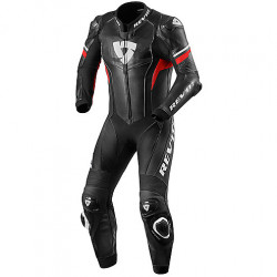 TUTA INTERA IN PELLE   HYPERSPEED 1PC NERO ROSSO REV'IT